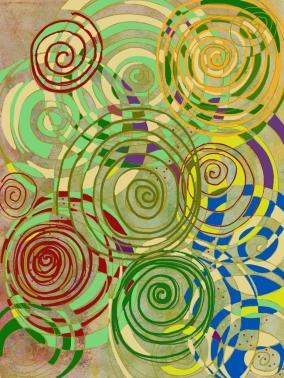 "Spirals , green - 8"" x 10"" digital print"